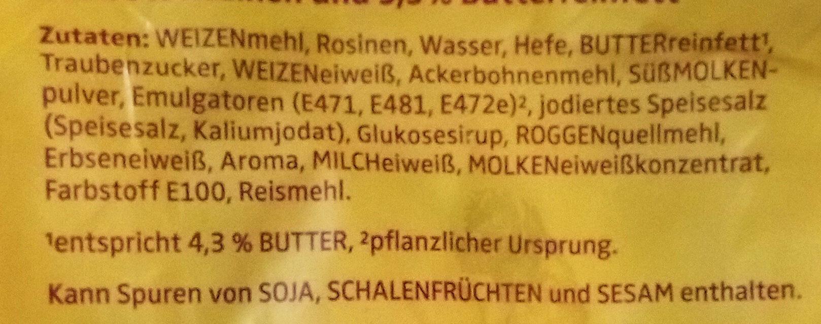Butter Rosinen Brötchen - Ingrédients - de