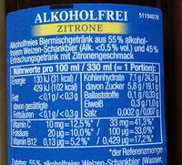 Franziskaner Weißbier alkoholfrei Zitrone - Nutrition facts