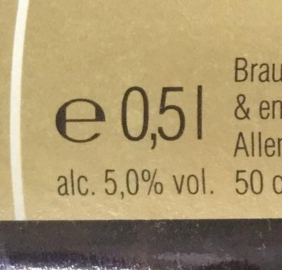 Franziskaner Hefe Weissbier 500ml - Información nutricional