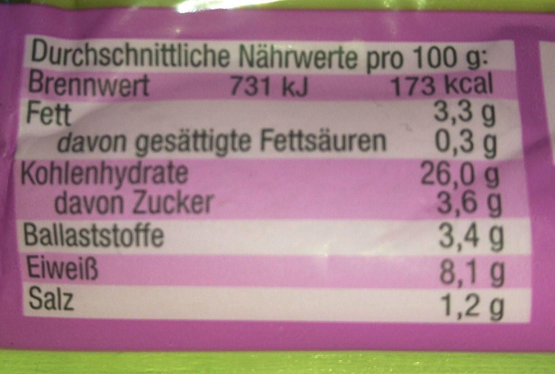 Vegane Maultaschen - Informations nutritionnelles - de
