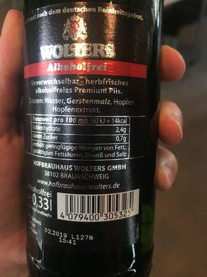 Wolters Premium Pilsener alkoholfrei - Voedingswaarden - de