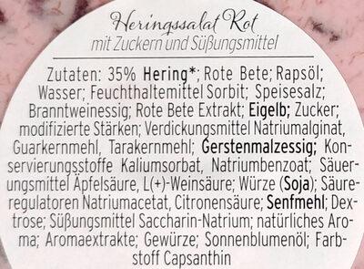 Heringssalat Rot mit Zuckern und Sussungsmittel - Ingredients - de