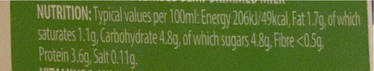 semi-skimmed milk - Informations nutritionnelles - en