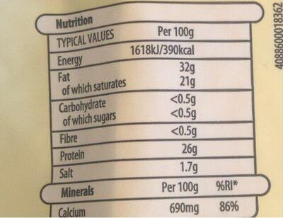 Irish chedar - Nutrition facts