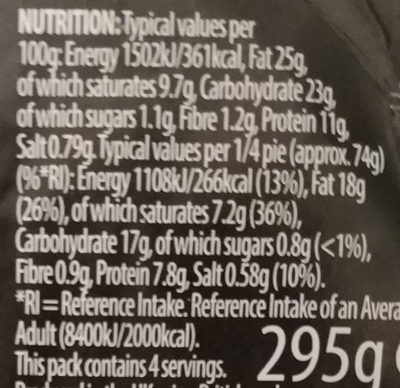 Pork pie Melton Mowbray - Nutrition facts