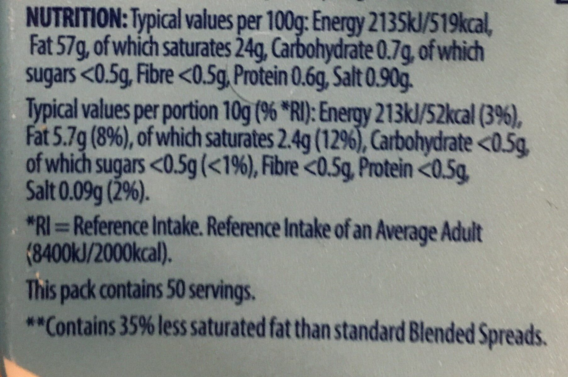 Slightly salted butter blended with rapeseed oil - Nutrition facts - en
