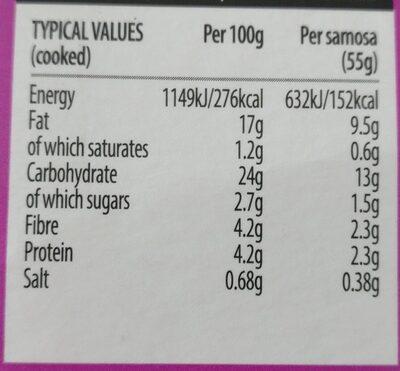 4 Vegetable Samosas - Informations nutritionnelles - en