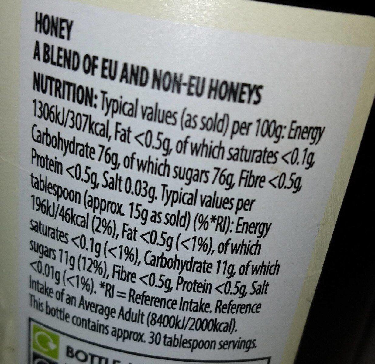 100% pure squeeze honey - Nutrition facts - en