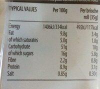 Chocolate Chips Brioche Rolls - Nutrition facts - en