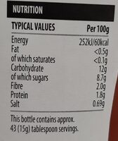 Tomato ketchup 50% less sugar and salt - Informations nutritionnelles