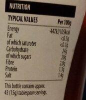 Tomato Ketchup - Informations nutritionnelles - en