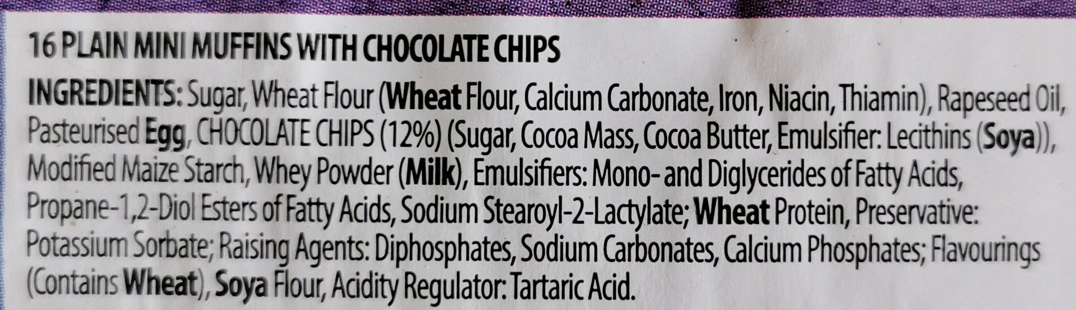 16 chocolate chip mini muffins - Ingrédients - en