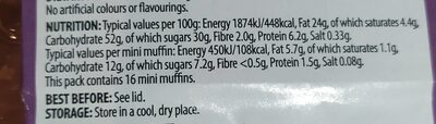 16 chocolate chip mini muffins - Informations nutritionnelles