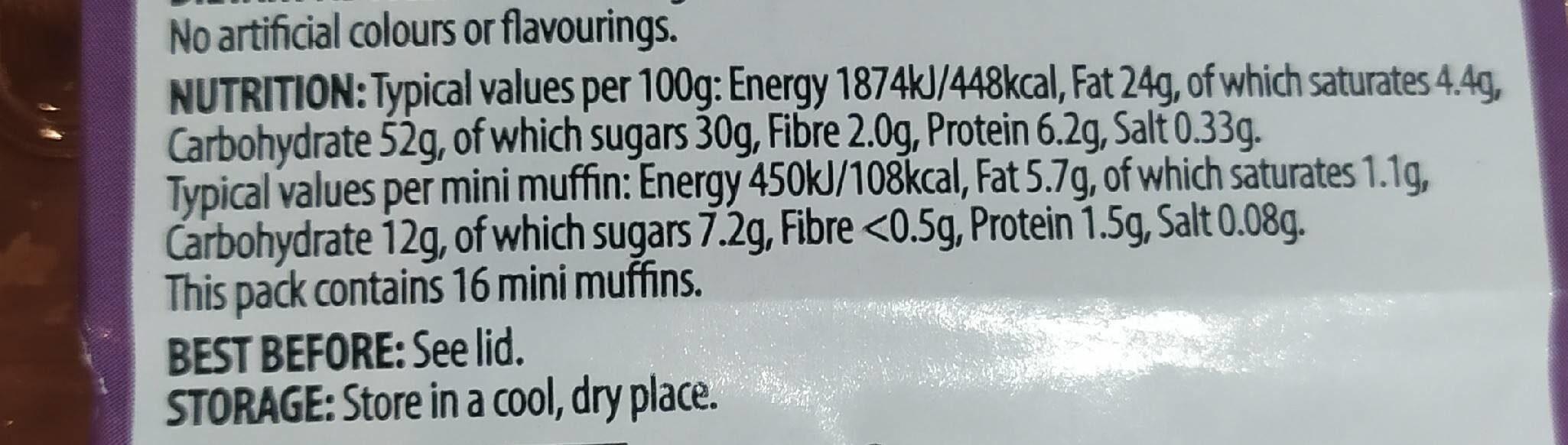 16 chocolate chip mini muffins - Informations nutritionnelles - en