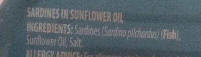 Sardines in sunflower oil - Ingrédients