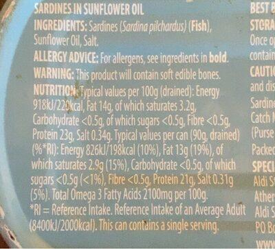 Sardines in sunflower oil - Informations nutritionnelles