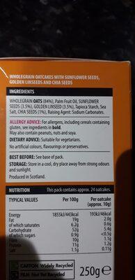 Scottish seeded oatcakes - Ingredients - en