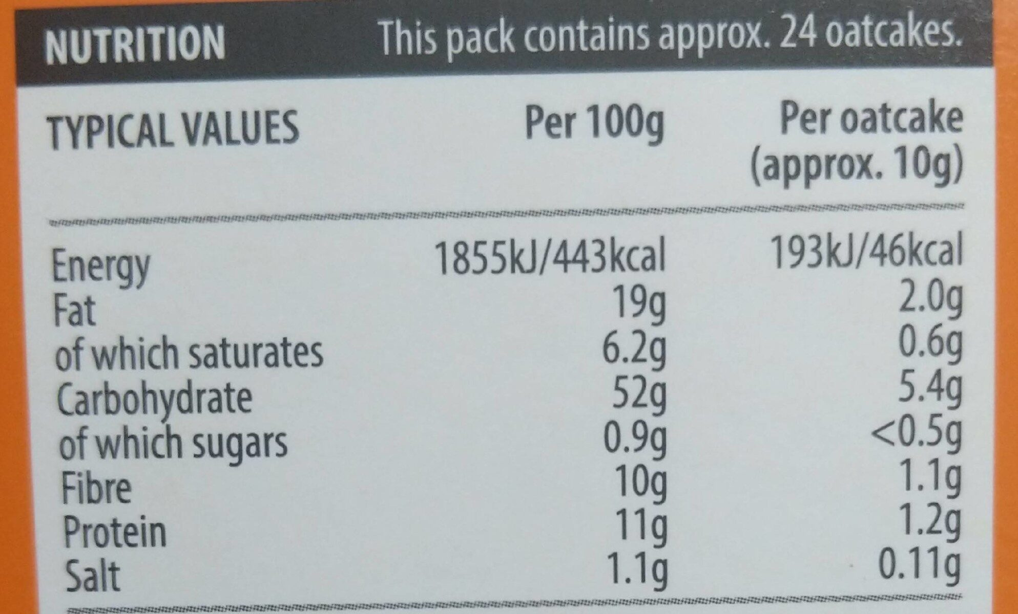 Scottish seeded oatcakes - Nutrition facts - en
