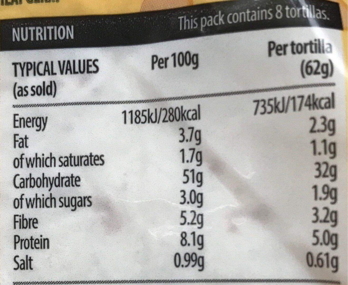 8 super soft both in one wrapps - Información nutricional - es