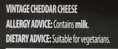Vintage Cheddar - Ingrédients - en