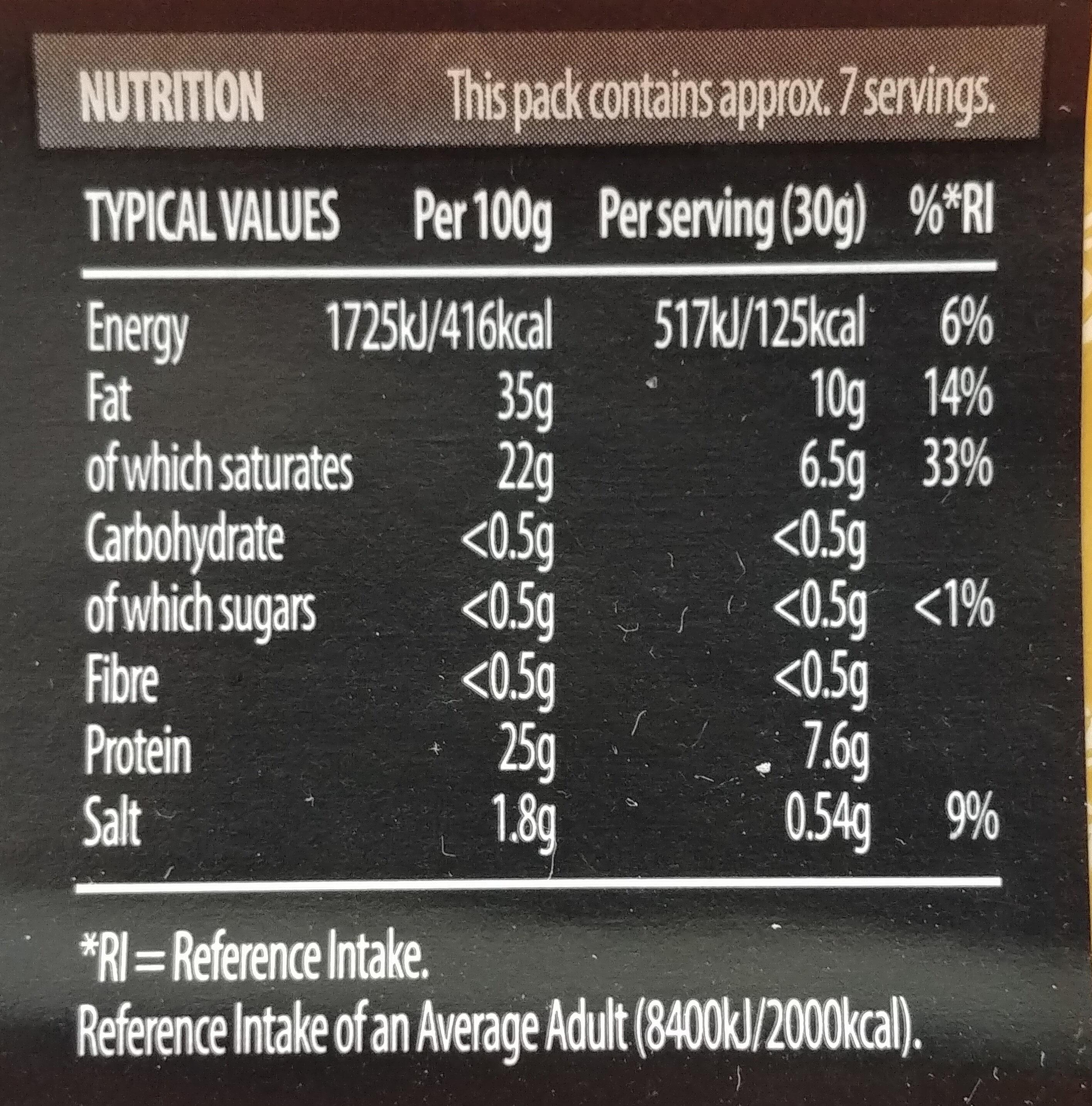 Vintage Cheddar - Informations nutritionnelles - en