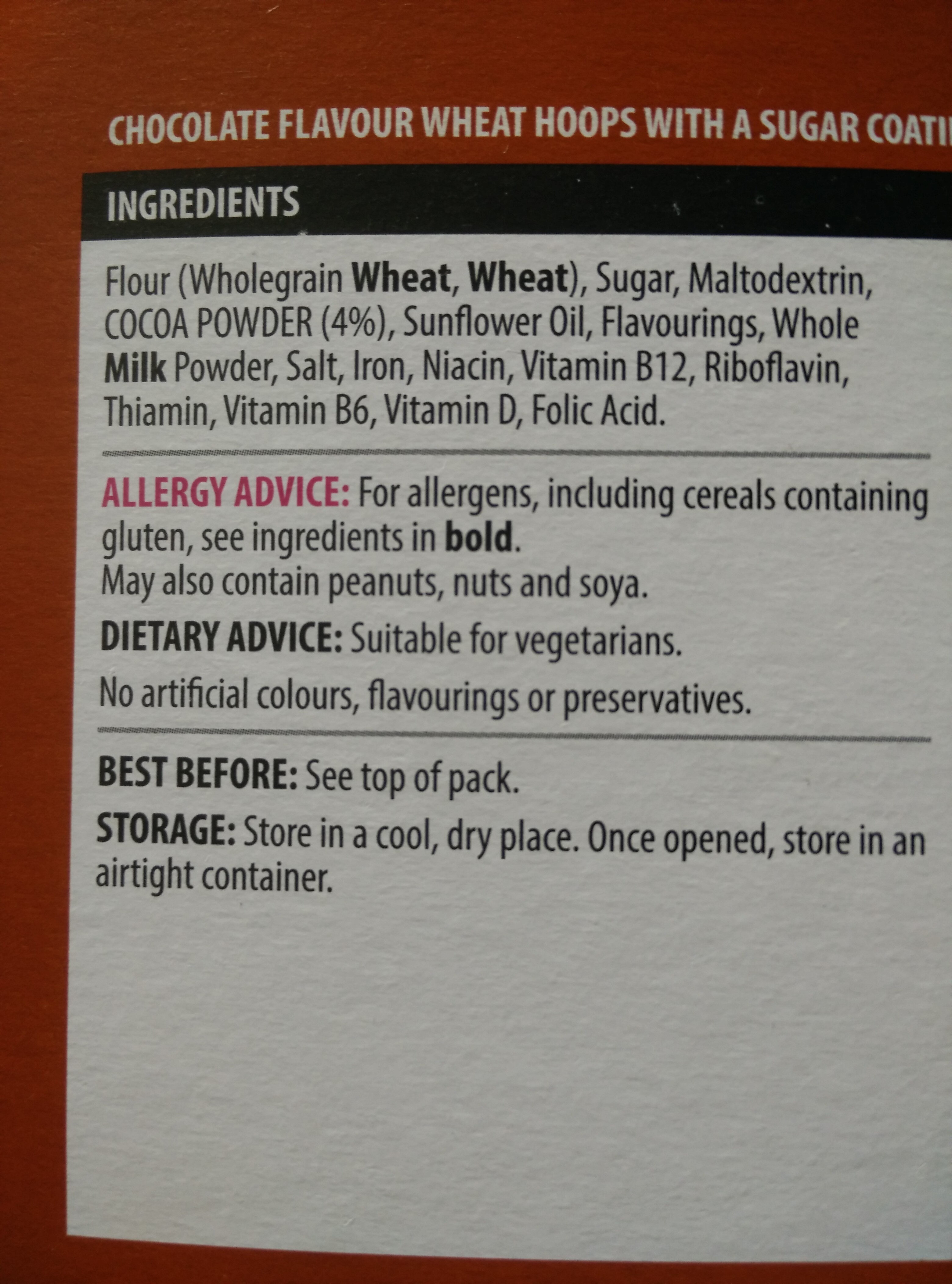 Choco Hoops - Ingrediënten
