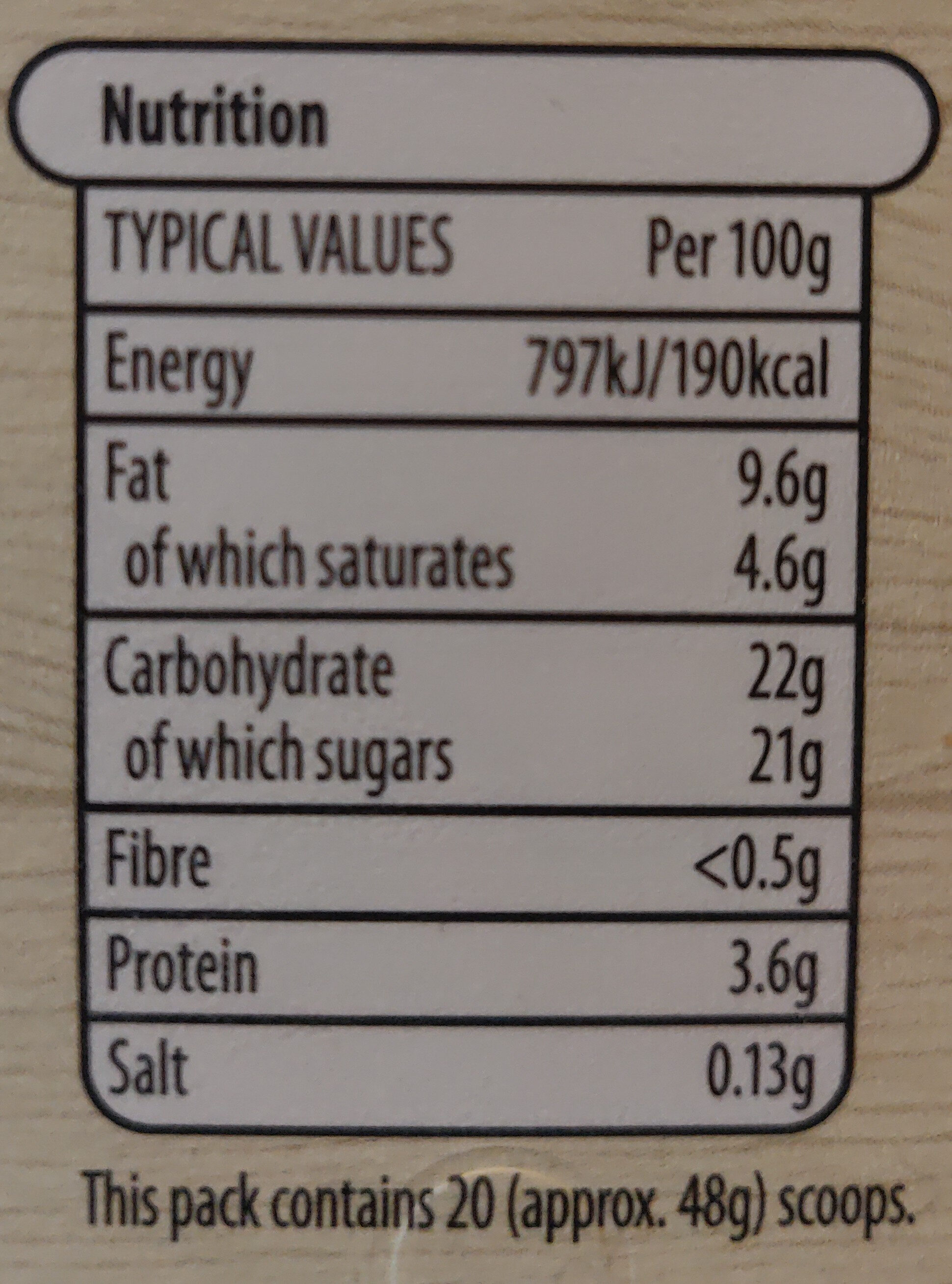 Vanilla flavour soft scoop ice cream - Informations nutritionnelles