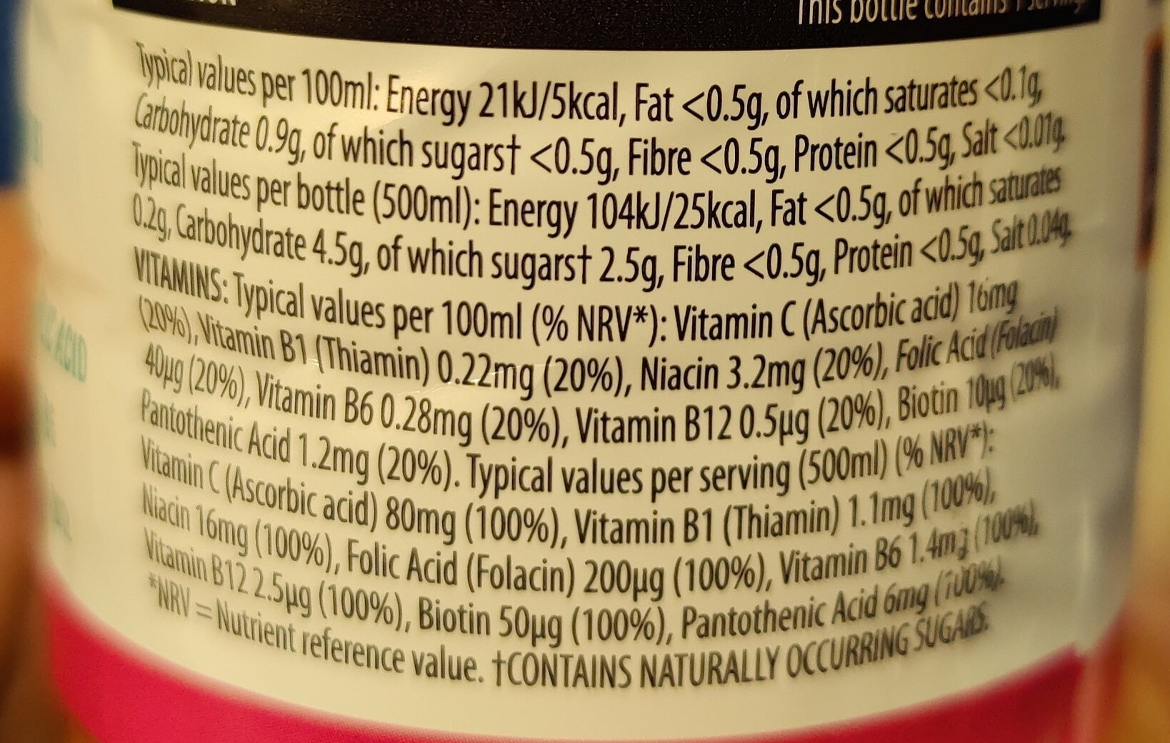 Orange, Mango & Passionfruit Vitamin Water - Nutrition facts - en