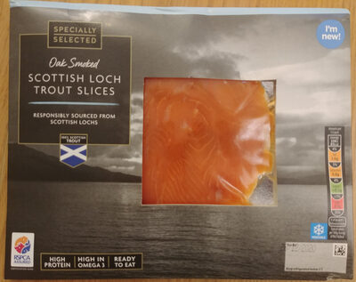 Defrosted, oak smoked, skinless and boneless rainbow trout slices - Produit