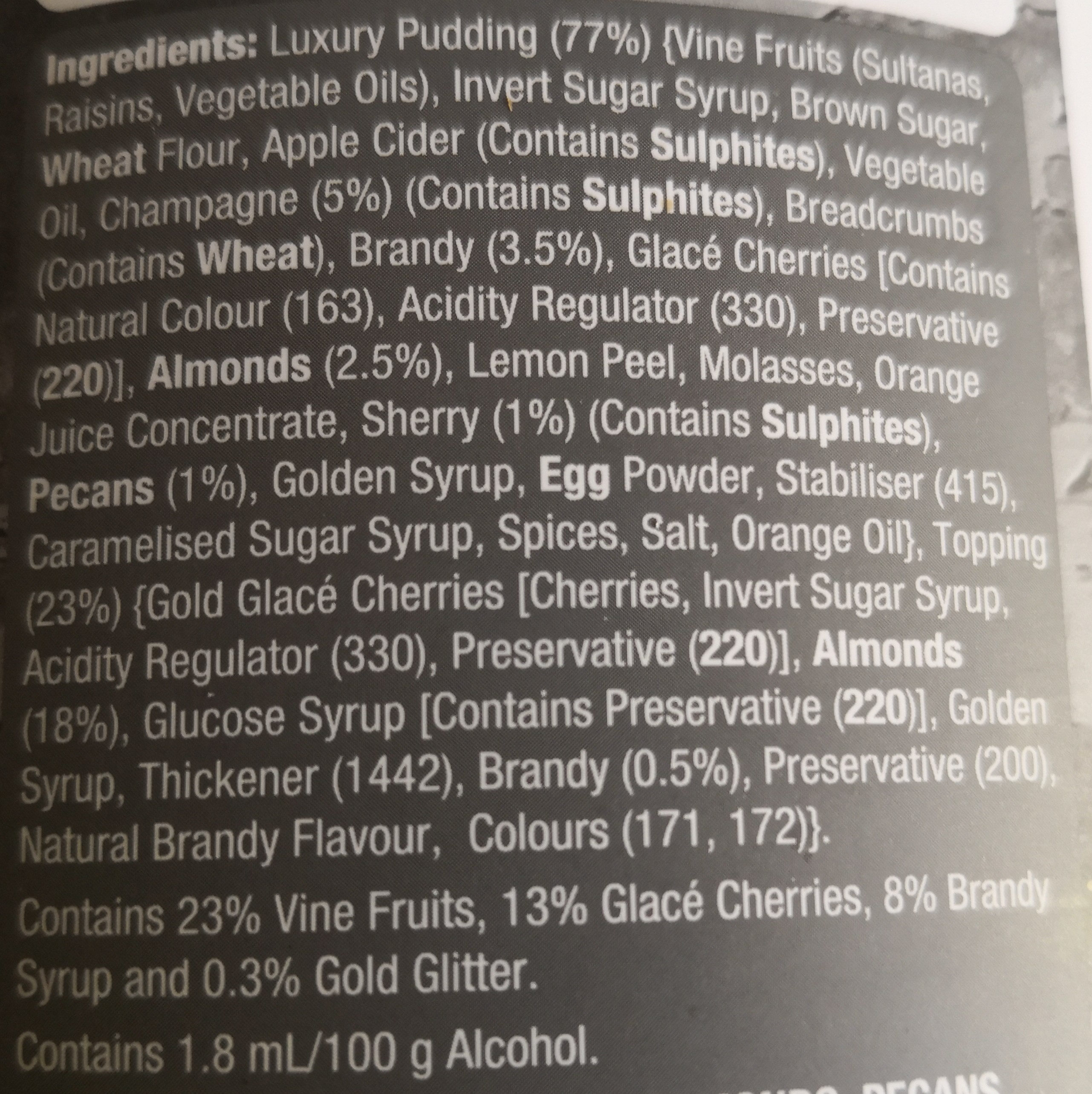 Luxury Golden Champagne Pudding - Ingredients