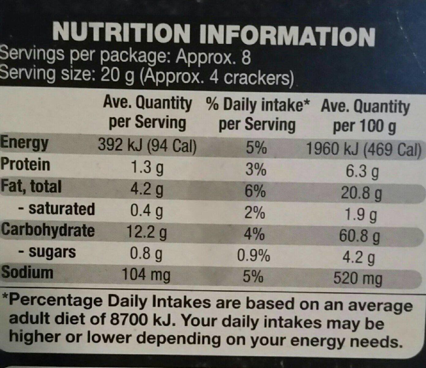 Oven baked Multigrain Wheaten Crackers - Nutrition facts - en
