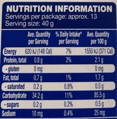 Gluten Free Plain Flour - Informations nutritionnelles - en
