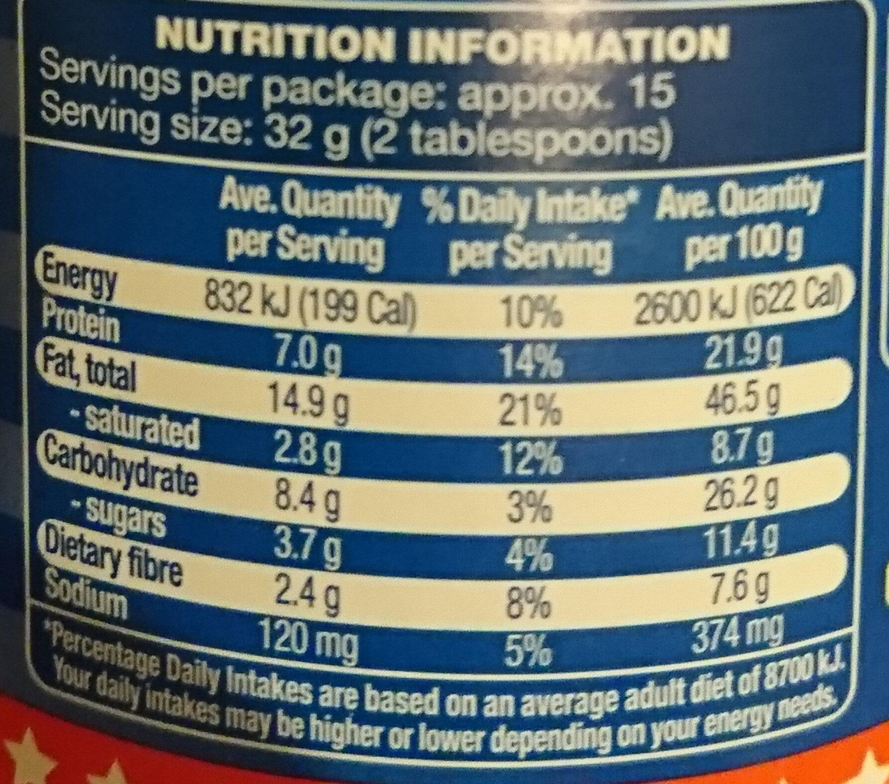 American style Peanut butter - Valori nutrizionali - en