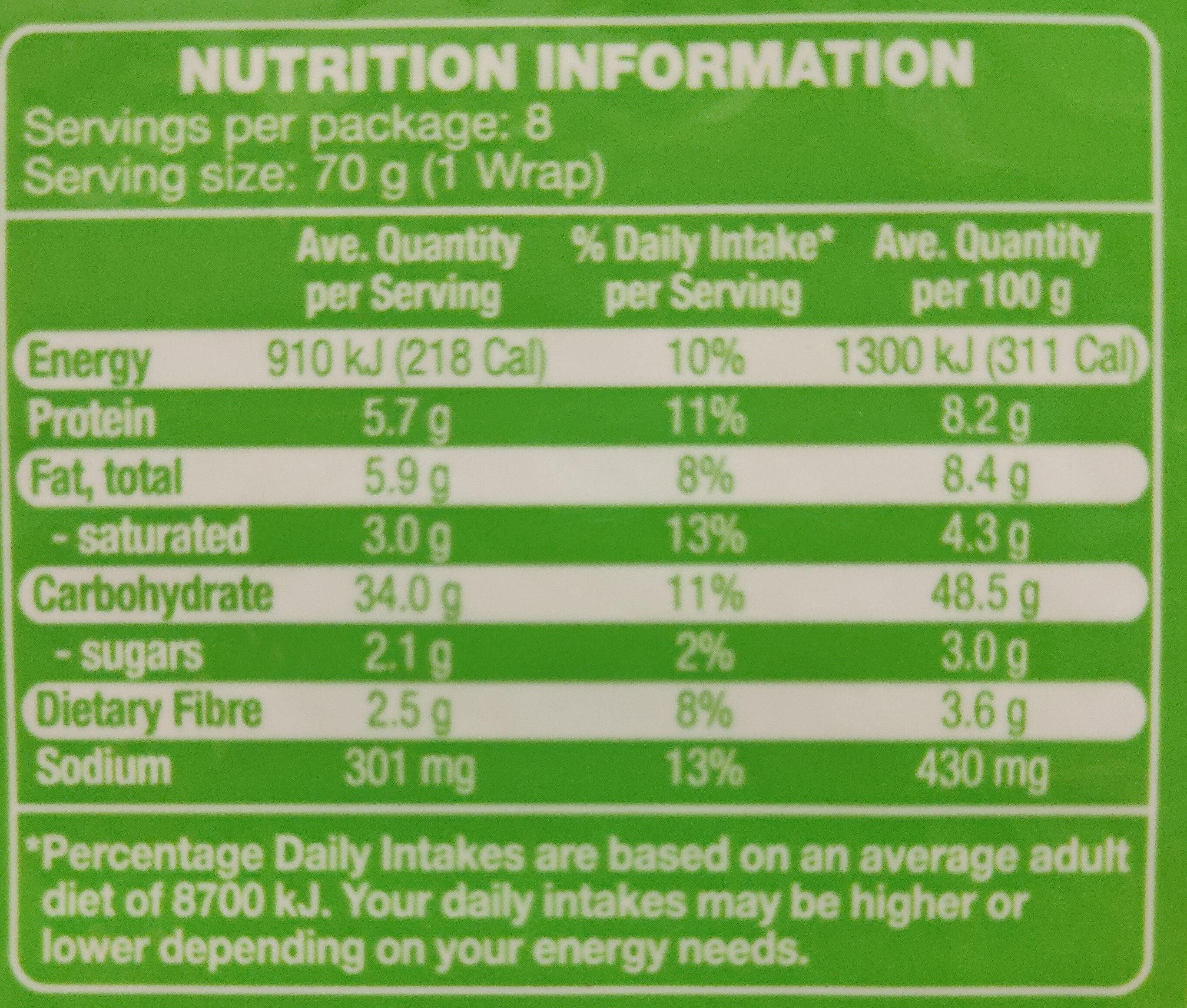 Large Wraps - Nutrition facts - en