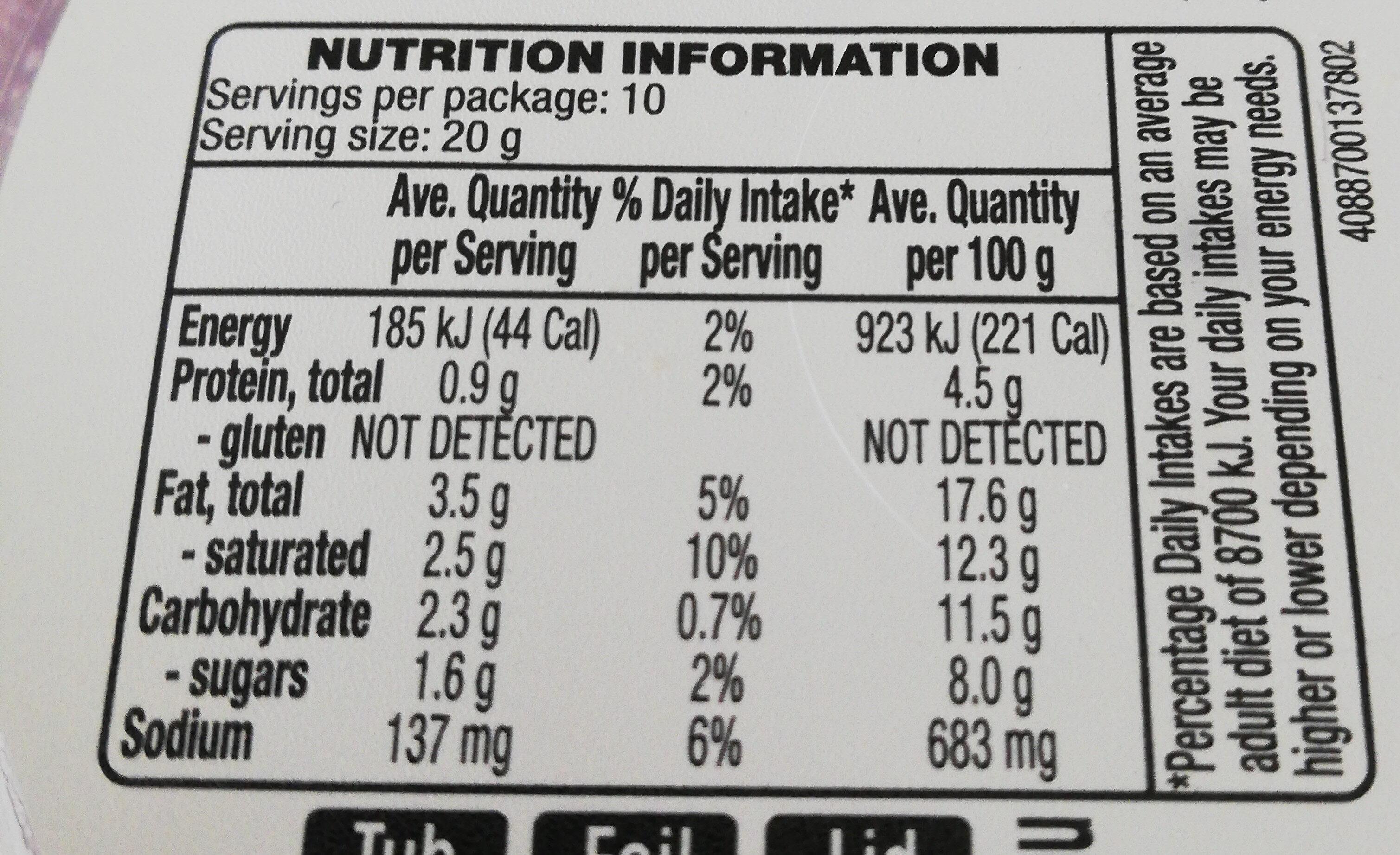 French Onion Dip - Informations nutritionnelles - en