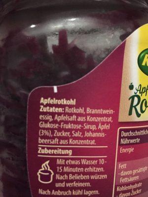Apfel Rotkohl - Inhaltsstoffe