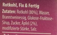 Chou rouge - Ingredients