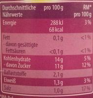 Chou rouge - Informations nutritionnelles