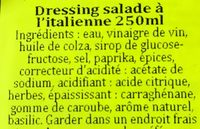 Dressing salade a l'italienne - Ingredientes