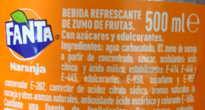 Fanta, soda, orange - Ingredientes - es