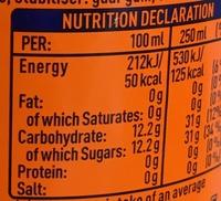 Fanta orange - Valori nutrizionali - fr