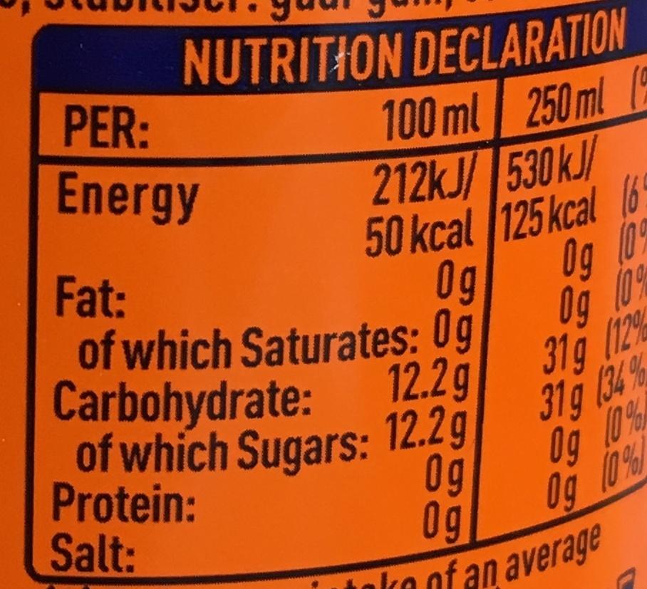Fanta orange - Nutrition facts - fr