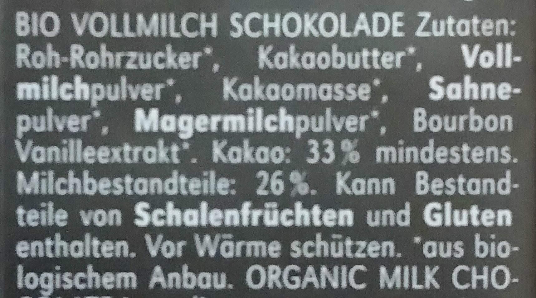 Vollmilch - Ingredients