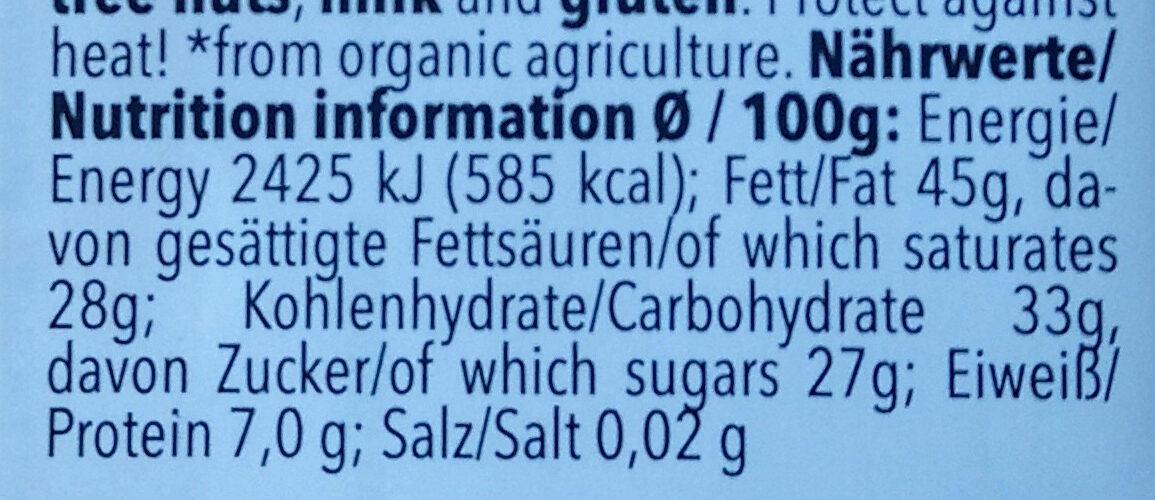 Feine Bitter 71% Cacao - Nährwertangaben