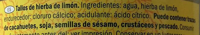 Lemon Grass Spears - Ingredients