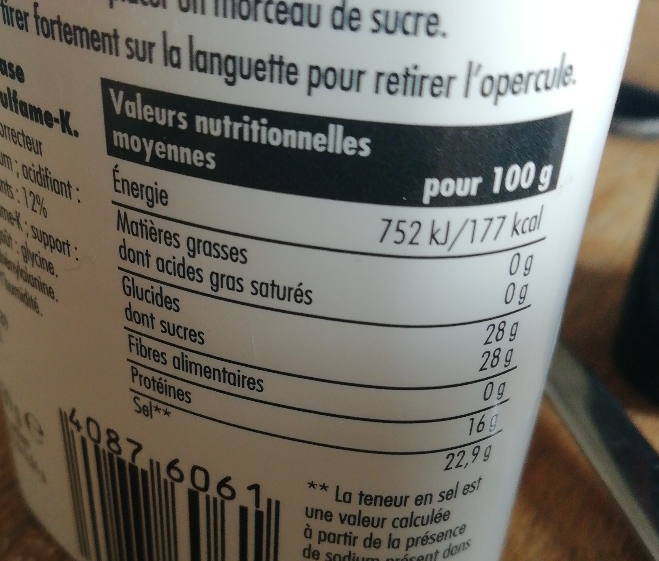 Aspartame - Informations nutritionnelles - fr