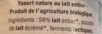 Bio Yaourt Nature - Ingrédients - fr