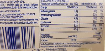 Yaourt au lait de Brebis nature - Informations nutritionnelles