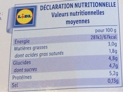 Yaourt au lait de Brebis nature - Nutrition facts - fr