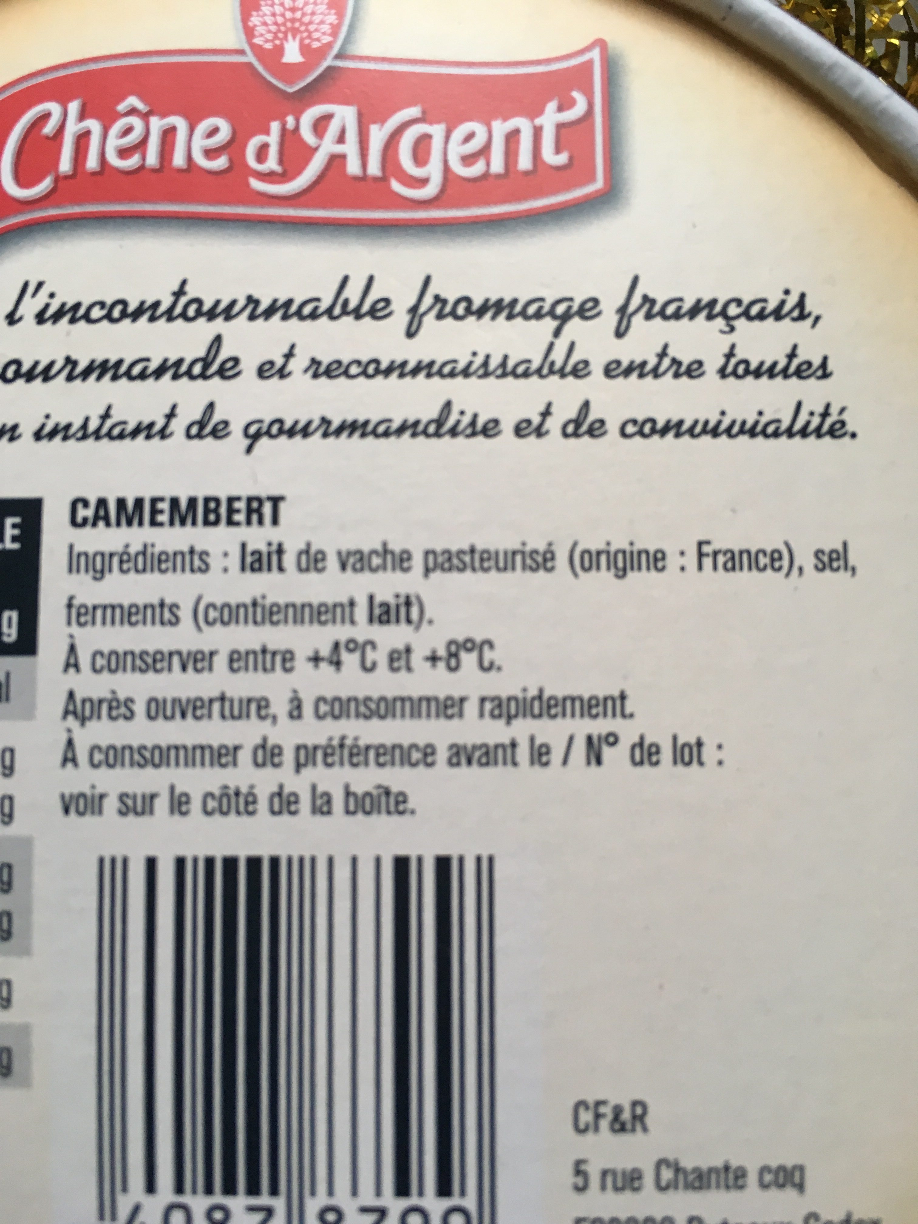 Chêne d'Argent Camembert - Ingrédients - fr